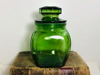 "Vintage Dark Green Glass 8"" Canister Apothecary Jar"