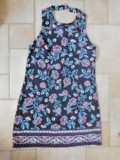 Womens Hollister Black Pink Blue Floral Print Cut Out A Line Dress M Medium