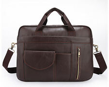 Real Leather Men's Business Handbag Office Briefcase Laptop Tote Shoulder Bag