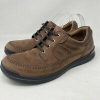 Ecco Brown Leather Casual Lace Up Oxfords Sneakers Shoes Men's 45 / 11 - 11.5