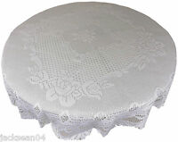 """WHITE HEAVY LACE ROSE SCALLOPED STAIN RELEASE 36"""" - 90CM ROUND TABLE CLOTH"""