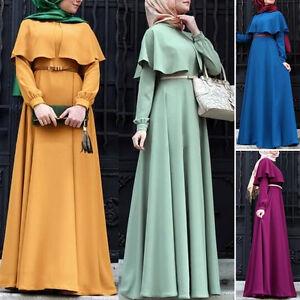 2021 Retro Women Cocktail Maxi Dresses Muslim Robe Abaya Jilbab Islamic Cloak