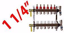 """6 Loop 1 1/4"""" PEX Manifold Radiant Floor Heating Stainless Steel and Connectors"""