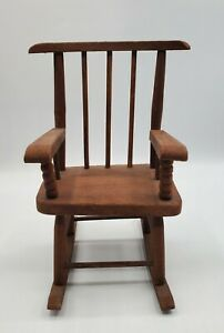 "Vintage Doll Bear Rocking Chair ~ 7.75"" Handmade Chair ~ FANTASTIC!"