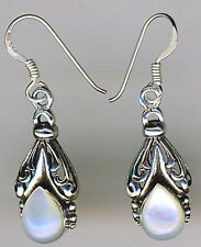 "925 Sterling Silver White Mother of Pearl Dangle  Earrings  Length  1.3/8"" 35mm"