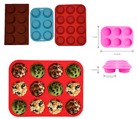 Silicone Muffin Cup Tray Pan Cupcake Mould Baking Mold Non Stick 6/8/12 Cups