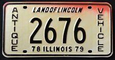 "ILLINOIS "" ANTIQUE VEHICLE LINCOLN "" 1978 / 79 IL Vintage Classic License Plate"