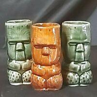 "Vintage Tiki Tumblers Ceramic Hawaiian 2 Green 1 Brown 3-1/2"" Lot of 3 Preowned"