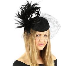 Fancy Wool Swirl Ribbon Feathers Veil Headband Fascinator Cocktail Hat Cap Black