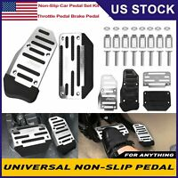 Non-Slip Automatic Car Foot Pedal Pad Cover For Gas Brake Accelerator Silver USA
