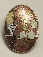Vintage Cloisonne  Lady Unicorn brooch pin enamel on metal