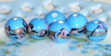 Vintage Glass Beads Destash Flowers Milk blue Rose Foil 12mm Millefiori NOS #97