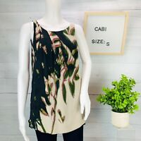 Cabi Womens Silk Crinkle Blouse Top Lined Floral Black Taupe Sleeveless Size S