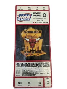 1996 CHICAGO BULLS TICKET NBA PLAYOFFS GAME O UNITED CENTER NEVER USED