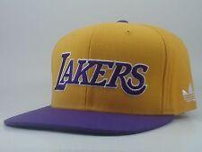 LA Lakers Snapback Hat Adidas 2Tone Yellow Purple Flat Bill STA3 Retro NEW RARE