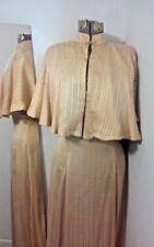 Vintage / Antique Silk Dress and Cape Gold Stripe w/ Metallic Gold Threading