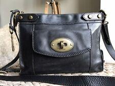Fossil vintage genuine leather distressed black leather shoulder cross body bag