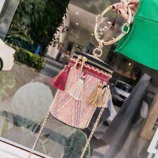 Bali Bohemia Beach Circle Hand Woven Round Rattan Straw Crossbody Bag US Seller