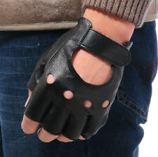 New Mens Half Finger PU Leather Stage Sports Cycling Driving Gloves Black