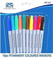 10 Pack New Permanent Marker Pens Assorted Multi Coloured Bullet Point Tip