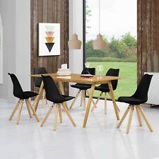 [en.casa] Esstisch Bambus mit 6 Stühlen schwarz gepolstert Tisch [180x80] Stühle