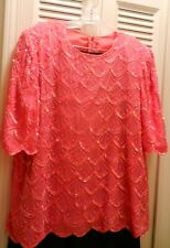 unbranded Beaded, sequined formal top deep pink  2X