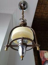 Vtg Art Deco Ceiling Fixture Chandelier Slip Shade 1930 Electrolier Porch Entry