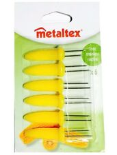 PACK OF 6 YELLOW CORN ON COB SKEWER HOLDER SET FORK STYLE -METALTEX