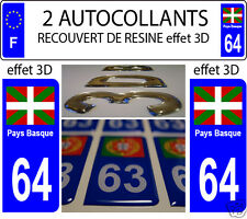 2 STICKER RECOUVERT DE RESINE PLAQUE IMMATRICULATION DEP 64 PAYS BASQUE