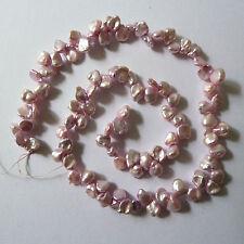 "Pale Pink Genuine Freshwater Keshi Pearls 16"" (41cm) Strand"