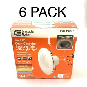 6 pack Commercial Electric 6in Selectable CCT Integrated LED Recessed Light Trim