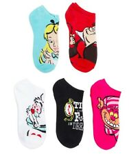 Womens 5pk No Show Socks Alice in Wonderland Red Queen White Rabbit Cheshire Cat