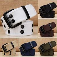 Canvas Waist Belt Unisex Waistband Fashion Double Pins Casual Women Men Military