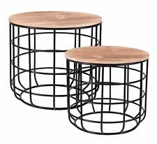 Metall Beistelltisch 2er Set schwarz mit Holz Tischplatte - Couchtisch Sofatisch