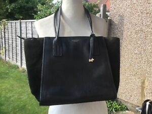 Large Radley dark navy blue leather and suede bag
