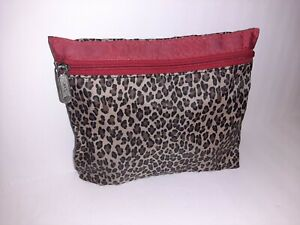 "LeSportSac Leopard w/Red Trim Vintage 8""x7"" Cosmetics Bag"