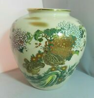 Vintage Asian Chinese Japanese Porcelain Jar Vase Brown Birds Flowers Marked
