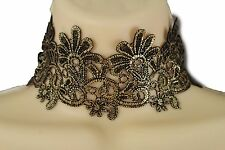 Women Fashion Wide Fabric Band Choker Necklace Black Gold Flowers Sexy Jewelry