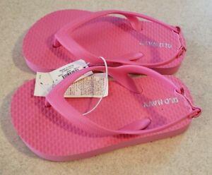 Old Navy Toddler Girls 6 / 7 Solid PINK Flip Flops Sandals Ankle Strap #17121