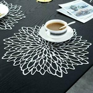 Placemats Table Mat Washable Dining Wedding Flower Hollow Placemat Waterproof
