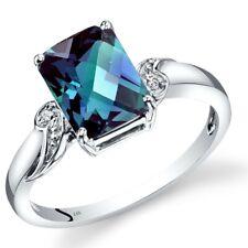 14K White Gold Created Alexandrite Diamond Ring Cut 2.5 Carats Size 7