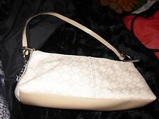 nine west beige patterned purse w/cell phone case & lipstick holder 4.5 X 10