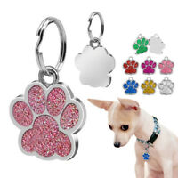 FJ- KQ_ Glitter Paw Print Pet ID Tags Custom Engraved Puppy Dog Cat Tag Personal