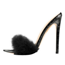 Onlymaker Women Fluffy Feather Open Toe Sandal Stiletto Wedding Dress High Heels