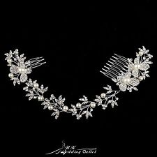 Bendable pearl and crystal bridal hair vine wedding hair accessories with combs
