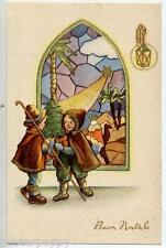 Bambini Pastori Presepe Mosaico Stella Cometa Natale Children Xmas PC Circa 1930