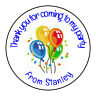Boys Blue Balloons Personalised Thank You Sticker Party Sweet Cone Birthday