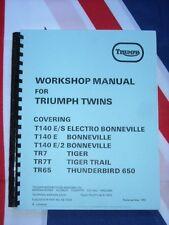 Shop Manual Triumph T140 Bonneville TR7 Tiger electric 1979 1980 1981 1982