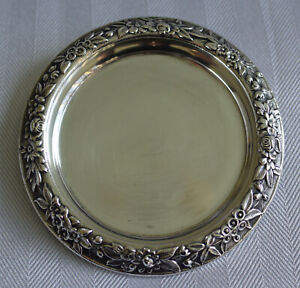 """S. Kirk & Son Sterling Silver 4"""" Repousse Chased Wine Bottle Coaster Dish-52.8g"""
