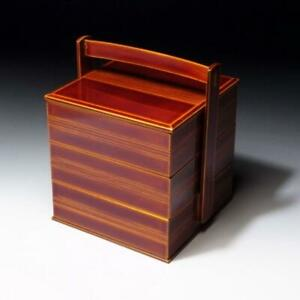 $VM46: Japanese Lacquered Wooden Multitiered Box, Jyubako, Shunkei lacquer ware